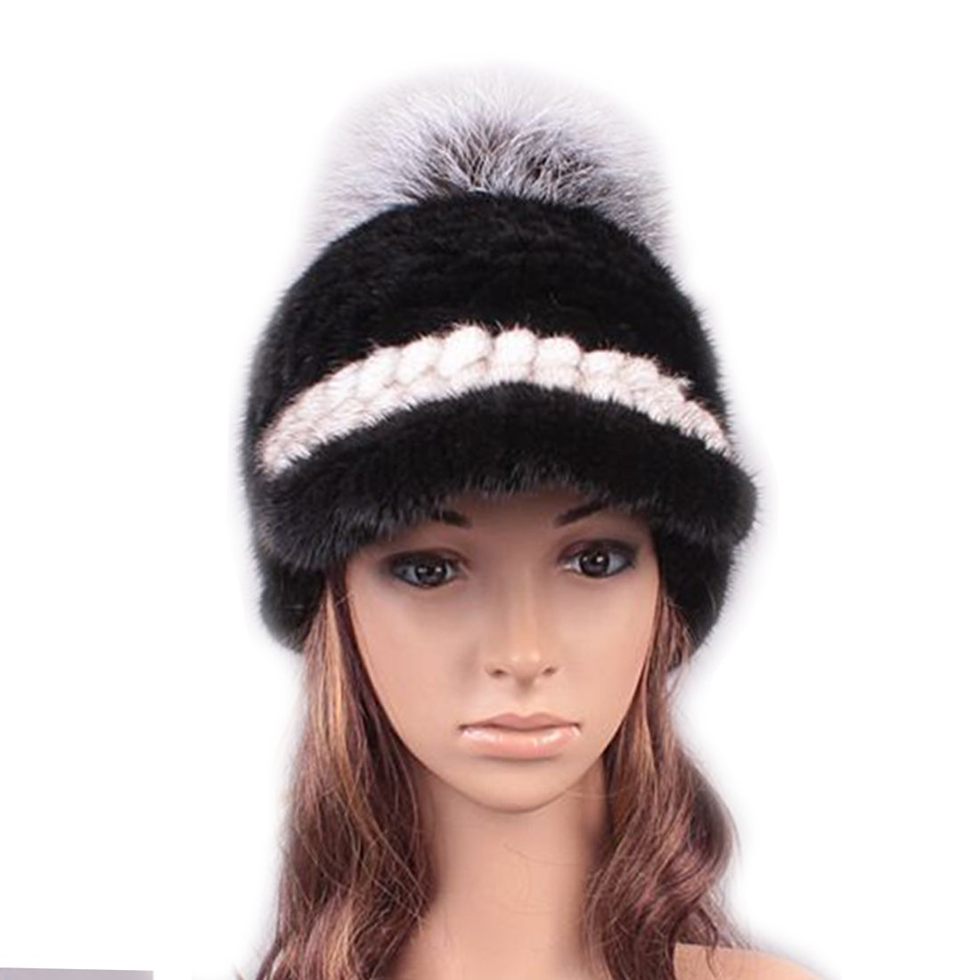 UK.GREIFF Womens Fashion Warm Stretch Mink Fur Newsboy Caps Winter Hat