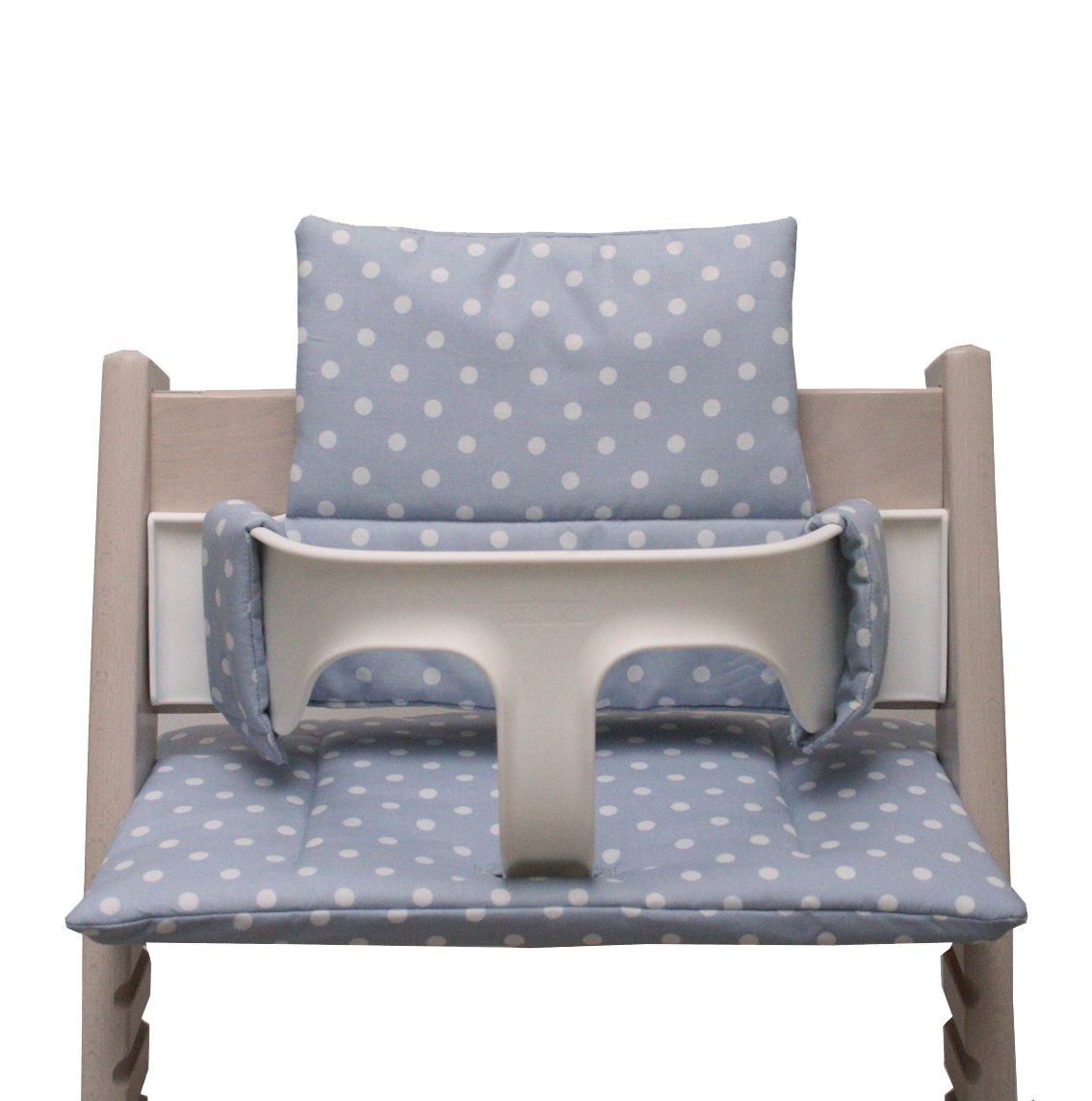 Blausberg Baby - Sitzkissen *41 FARBEN* Kissen Polster Set für Stokke Tripp Trapp Hochstuhl (Grau Punkte) alle Materialien OEKO-TEX ® Standard 100 zertifiziert - 100% made in Hamburg 050481