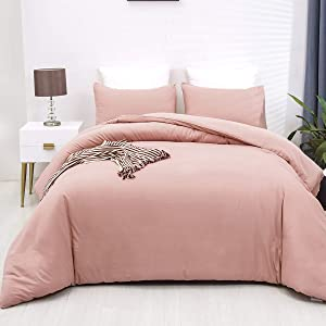 CLOTHKNOW Mauve Comforter Sets Queen Pink Full Bedding Comforter Set for Girls Teens Queen Bed Comforter Solid Color 3 Pcs Comforter Sets with Soft Microfiber Inner Bedding with 2 Pillowcases