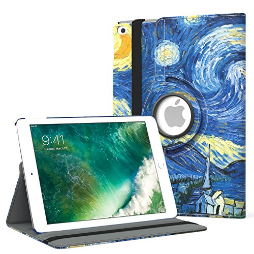 MoKo iPad 2017 9.7 Inch Case - 360 Degree Rotating Cover Case with Auto Wake / Sleep for