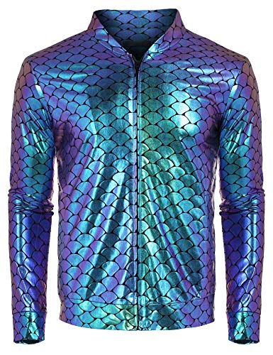 COOFANDY Mens Sequin Jacket Zip Up Baseball Varsity Bomber Sparkle Metallic Christmas Nightclub Disco Jacket ()