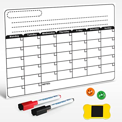 Amazon Com Dry Erase Monthly Calendar Set Wall Magnetic White