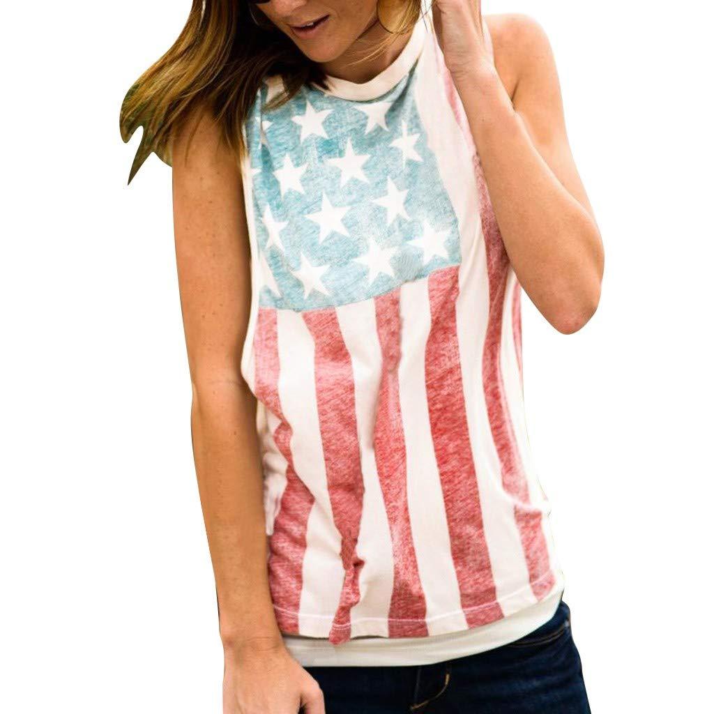 Womens American Flag July 4th Tank Top Patriotic Sleeveless Shirts