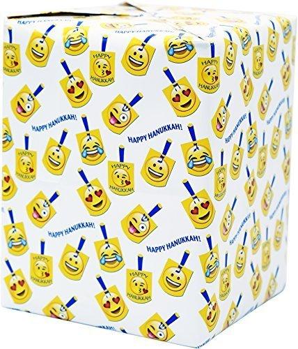 (Hanukkah Gift Wrap - Emoji Dreidel Design - Chanukah Gift Wrap 2 Sheets Chanukah Wrapping Paper Includes Two Cards (Single))
