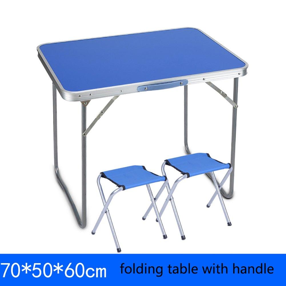 YXX- 屋外の木の折り畳み式のテーブルとキャンプ用のハンドル付き椅子ポータブル金属スクエアコンピュータデスクFoldable長いキッチン&ダイニングテーブル (色 : Table+2 stools, サイズ さいず : 70*50*60cm) B07DS1B6HV 70*50*60cm|Table+2 stools Table+2 stools 70*50*60cm