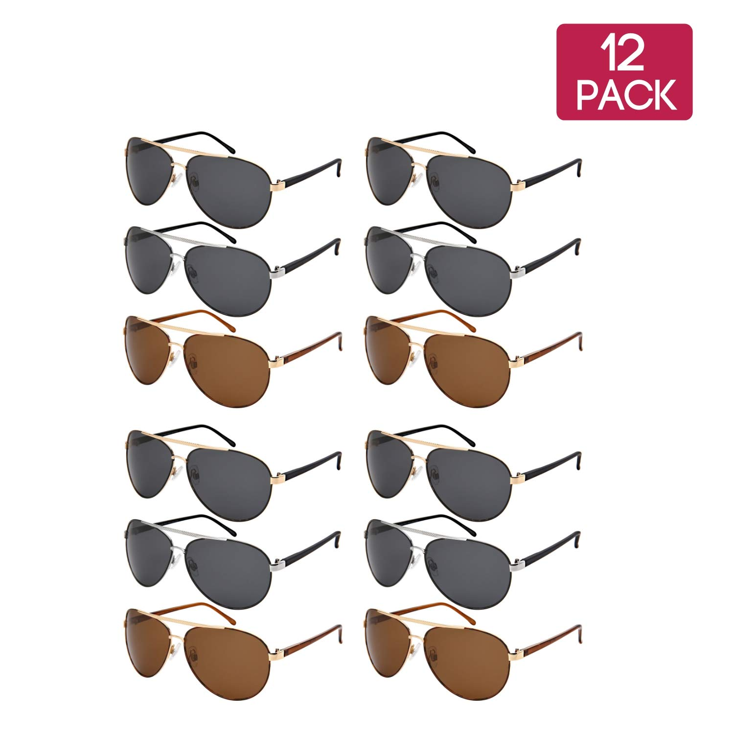 4gold Grey _4silver Grey_4gold Brown Edge IWear 12 Pack Classic Bulk Wholesale Polarized Metal Aviator Sunglasses for Men Women UV400