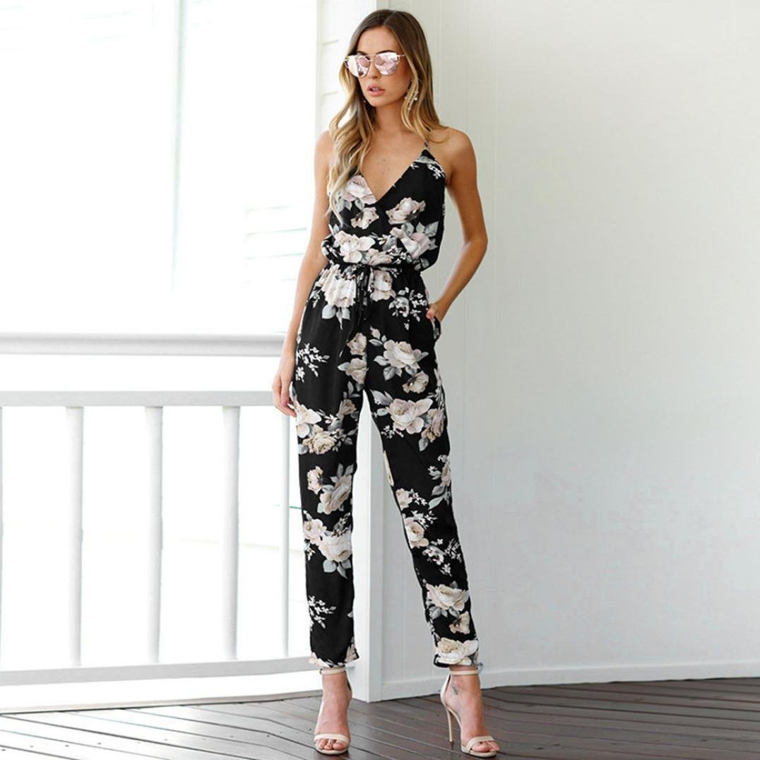 Ladies Lagenlook Baggy Harem Printed Cami Strappy Jumpsuit Dress One Size 8-26