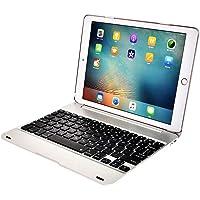 LoMe Funda con Teclado para Tableta Teclado Bluetooth Soporte de Teclado inalámbrico extraíble para iPad Air, iPad 2, ipadpro9.7,Silver