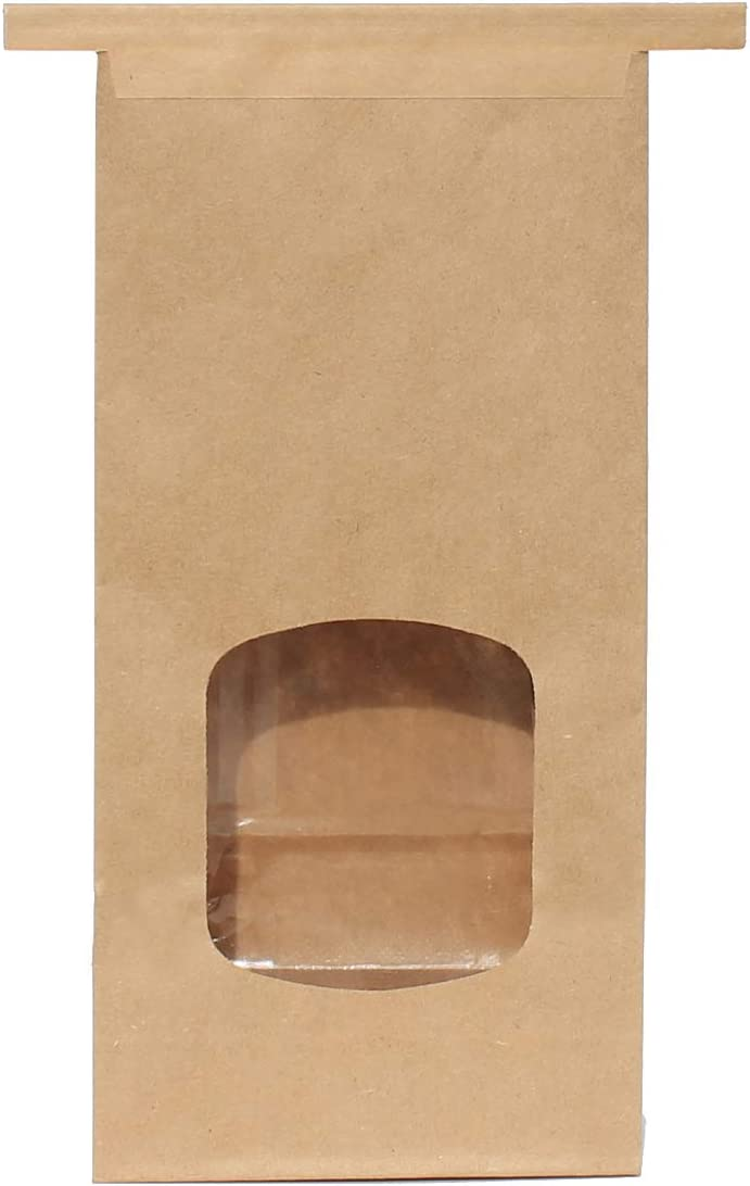 AwePackage 1 Lb(16 oz) Compostable Kraft Paper Tin Tie Bag with Window (100 Pack)