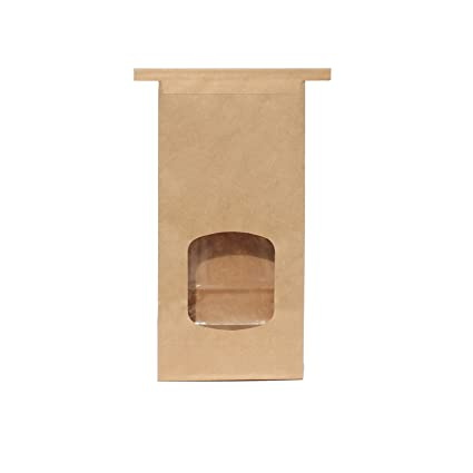 16 oz 100 Pack Compostable Kraft Paper Tin Tie Bag with Window AwePackage 1 Lb