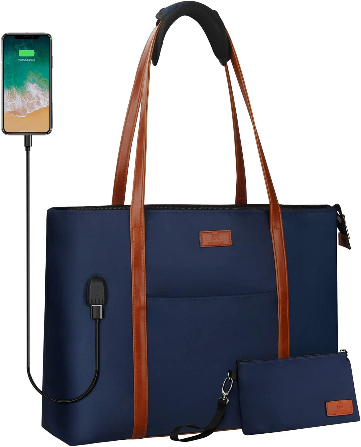 Laptop Tote Bag for Women Teacher Work Office USB Bags Fits 15.6 inches Laptop (Navy Blue)