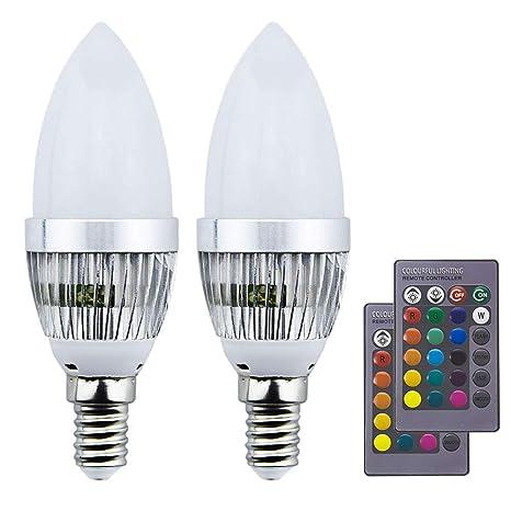 Luxvista 3W bombilla led e14 vela colores RGBW con controlador remoto mando IR de 24 teclas