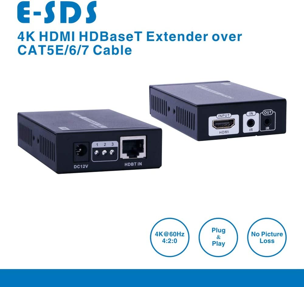 4K HDMI over Single CAT5E//6//7 Cable up to 230ft E-SDS 4K HDMI Extender 1080P 3D 130ft Supports 4K 60Hz HDCP2.2//1.4,Bi-directional IR Remote CV0013 1080P