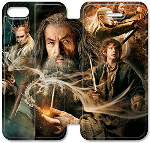Flip étui en cuir PU Stand pour Coque iPhone 5 5S, bricolage étui de téléphone cellulaire 5 5S Le Hobbit désolation de Smaug large Je F6T3MO Coque iPhone Leather Coque Case