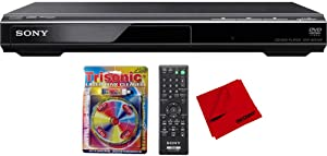 Sony DVPSR210P Progressive Scan DVD Player/Writer with Trisonic TS-3146B Laser Lens Cleaner and Microfiber Cleaning Cloth
