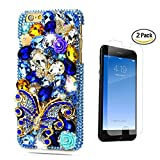 STENES iPhone 8 Plus Case - 3D Handmade Luxury Butterfly Rose Flowers Sparkle Rhinestone Design Cover Bling Case for iPhone 7 Plus/iPhone 8 Plus Screen Protector & Retro Bowknot Dust Plug - Blue