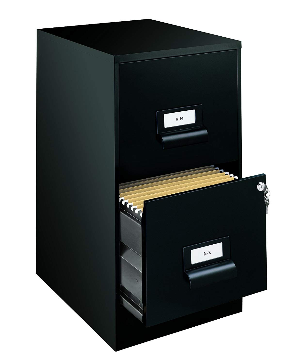 Office Dimensions 18'' Deep 2 Drawer Premier Height File Cabinet, Black (21644) (Pack of 2)