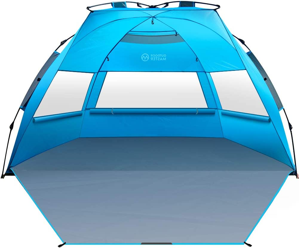 OutdoorMaster Pop Up 3-4 Person Beach Tent X-Large - Easy Setup, Portable Beach Shade Canopy Folding Sun Shelter with UPF 50+ UV Protection Removable Skylight Family Size