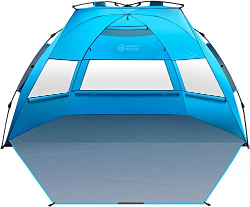 OutdoorMaster Pop Up 3-4 Person Beach Tent X-Large - Easy Setup, Portable Beach Shade Canopy Folding Sun Shelter with UPF 50+ UV Protection Removable...