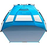 OutdoorMaster Pop Up 3-4 Person Beach Tent X-Large - Easy Setup, Portable Beach Shade Canopy Folding Sun Shelter with UPF 50+