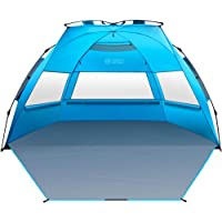 OutdoorMaster Pop Up Beach Tent XL - Easy Setup, Portable 3-4 Person Tall Beach Shade Folding Sun Shelter with UPF 50…