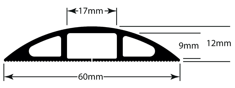 Cachez et Protégez les Câbles et Évitez les Risques D-Line Passe Câble Sol D'usage Léger  CC-1 60mm x 12mm Noir longeur 1,8m