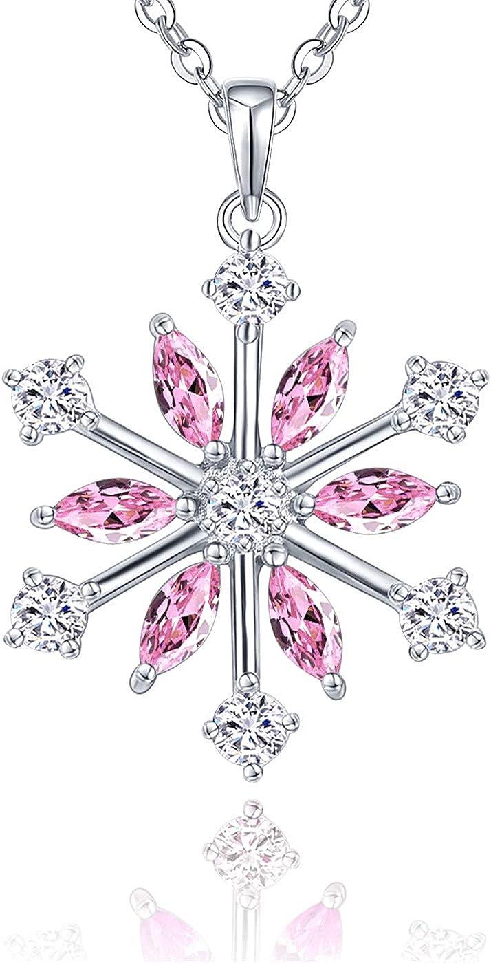 JO WISDOM Collar Colgante Copo de nieve Plata de ley 925 Cristales Swarovski Mujer Joyería