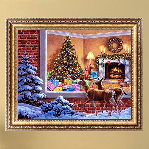 Lays 5d Round Diamond Painting Christmas Deer Tree Embroidery Cross Stitch Set For Home Wall