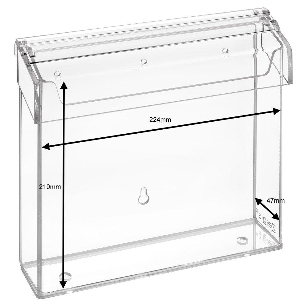 per esterno Prospetto scatola//Espositore//Flyer titolare per volantini 21/x 21/cm vetro/ in materiale acrilico trasparente /zeigis/® resistente alle intemperie con coperchio