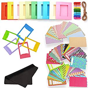 5 in 1 Colorful Bundle Kit Accessories for Fujifilm Instax Mini 9/8 Film Camera - Assorted Accessory Pack of Sticker Frames, Plastic Desk Frame, Hanging Clips with String, Micro-fiber Cleaning Cloth