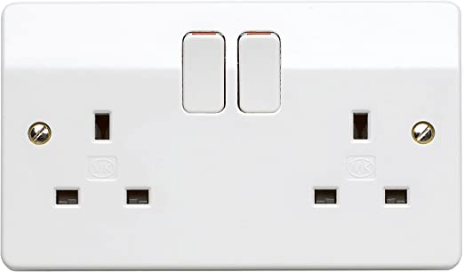 Blanc usb double switched socket 13A avec double usb prise 2 gang