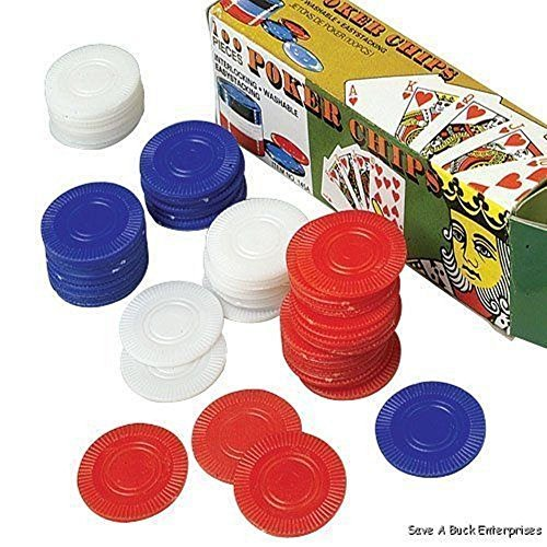 2500 Plastic Poker Chip set - Red White Blue- bulk lot by Unknown