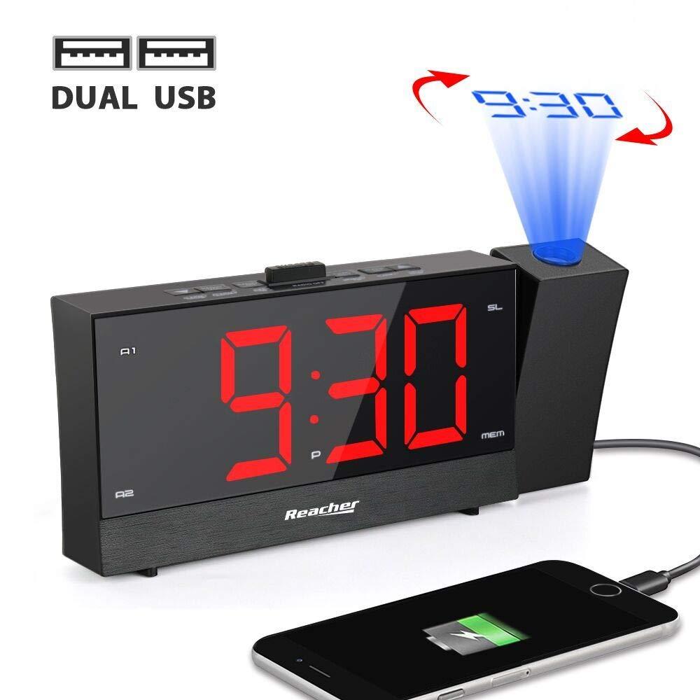 Radio Despertador Proyector, Reacher Reloj Despertador Digital con Cargador de teléfono dual, Snooze, Atenuador de brillo de rango completo, Alarmas ...
