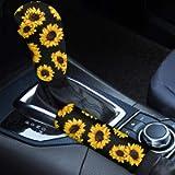 Babrukda Car Interior Accessiores for Women - Gear Shift Knob Cover / Handbrake Cover Yellow Sunflower Pattern Easy…