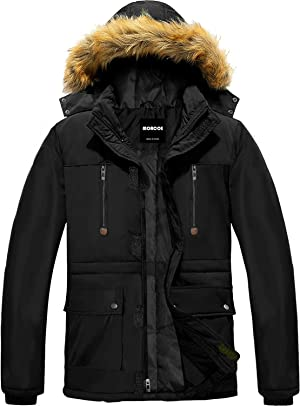 MORCOE Men's Winter Puffer Coat Casual Outerwear Thicken Parka Windproof Outdoor Jacket with Faux Fur Hood