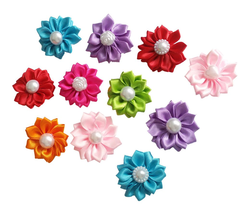 PET SHOW Flowers Pet Cat Dog Hair Bows With Rubber Bands Pet Grooming Topknot Hair Accessories Assorted Colors Pack of 20
