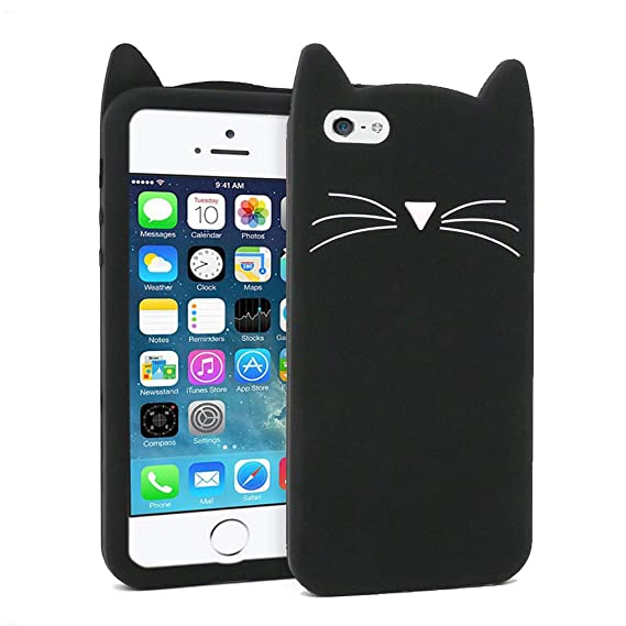 brand new 1da29 70e97 for iPhone 5 Cat Case, iPhone 5S Animal Case, iPhone SE Kitty Case, iPhone  5C 3D Cartoon Case, BEFOSSON Cute Meow Black Whisker Cat Soft Silicone ...