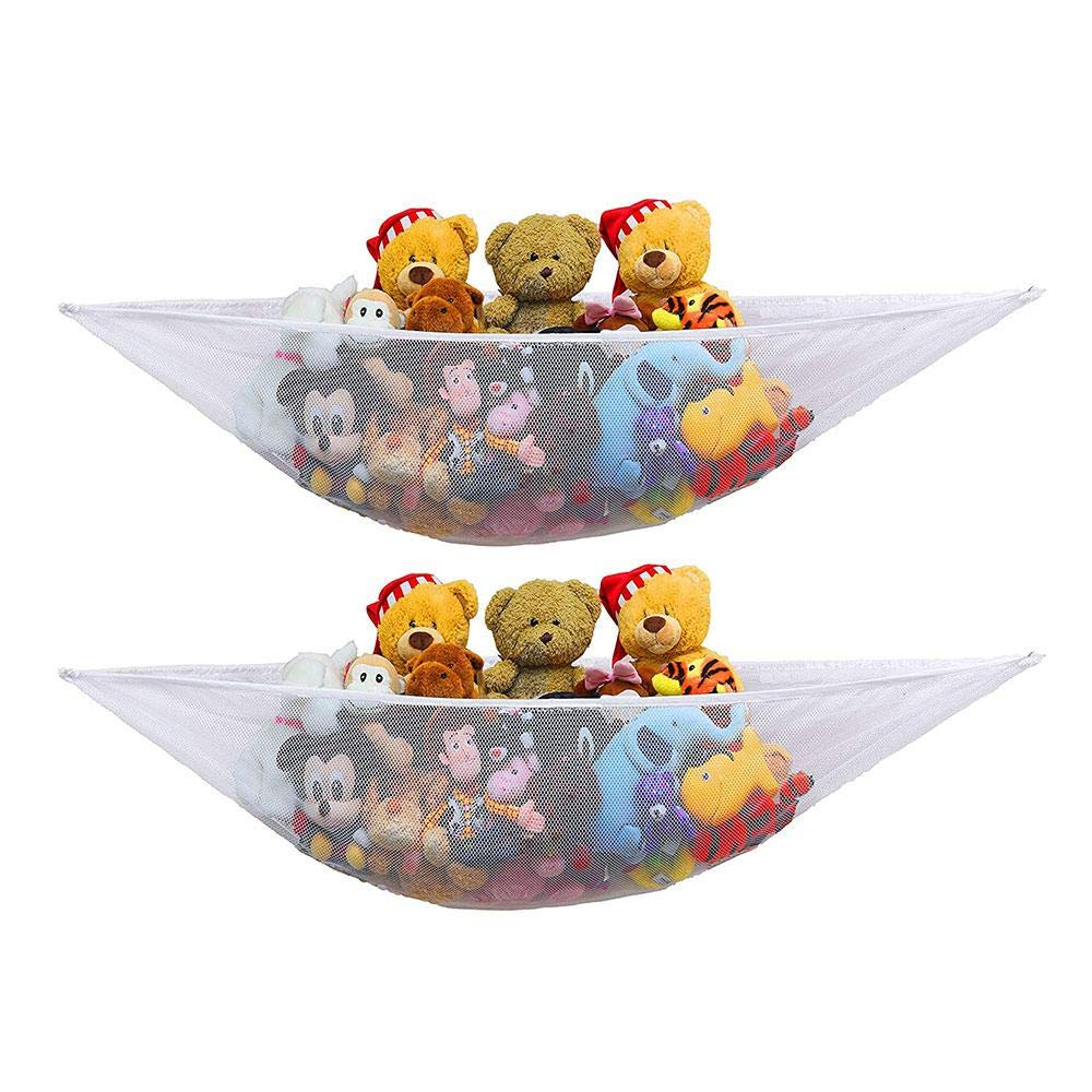 Aolvo 2 Pack Stuffed Animal Hammock Organize Stuffed Animals or Children's Toys with The Mesh Hammock, Premium Plush Toy Hanging Organizer