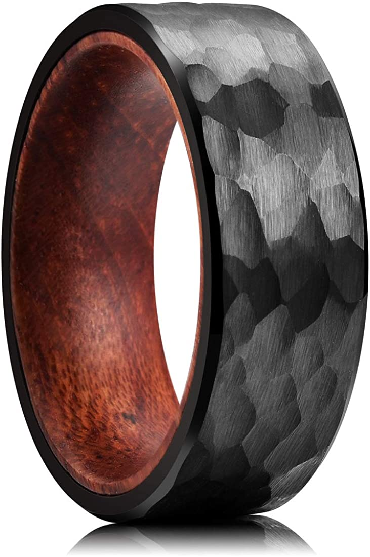 8mm Rose Gold* and Silver* Tungsten Carbide Unisex Ring with Black Inlay Comfort Fit Wedding Band,Men /& Women/'s Ring Rose Gold Men/'s Band