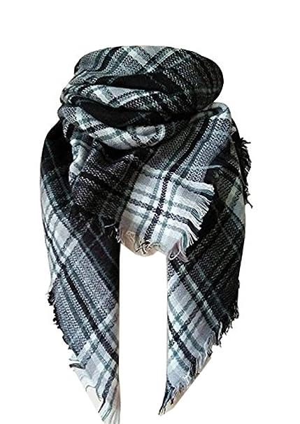 Black And White Plaid Blanket.Achillea Women S Oversized Tartan Plaid Check Blanket Scarf Square Winter Warm Shawl Wrap