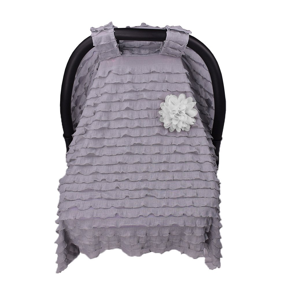 Baby Carseat Cover Canopy,Maternity Baby Stroller Sunshade Newborn Car Seat Carriage Blanket Sun Shade Rayshade Cover Basket Safety Cradle Cap Bassinet Canopy Visor.Purple+White Flower