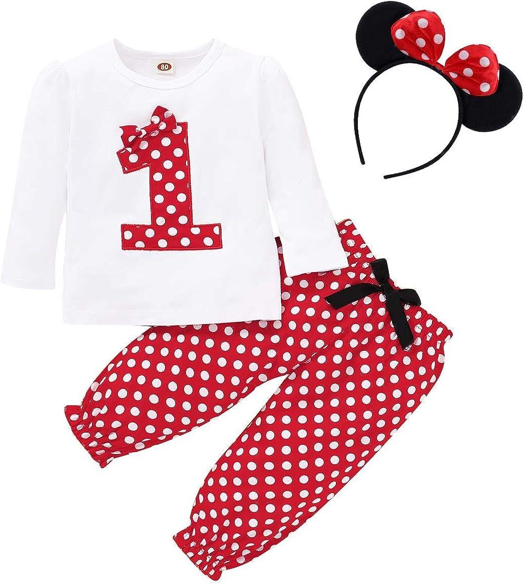serre-t/ête /à n/œud pour oreilles 1 /à 5 ans Fymnsi Ensemble de 3 v/êtements pour enfants avec t-shirt /à manches courtes et short /à pois rouges