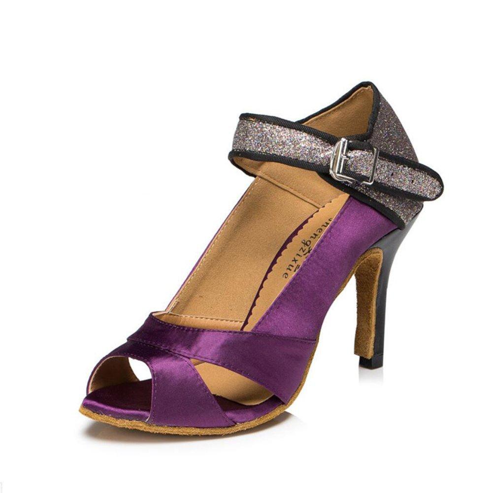 XUE Damen Latin Schuhe/Ballroom Schuhe Satin/Seide Sandale Indoor/Professional Schnalle Ferse Tanzschuhe Party  Abend Lila, Farbe (Farbe : B, Grouml;szlig;e : 33)  33|B