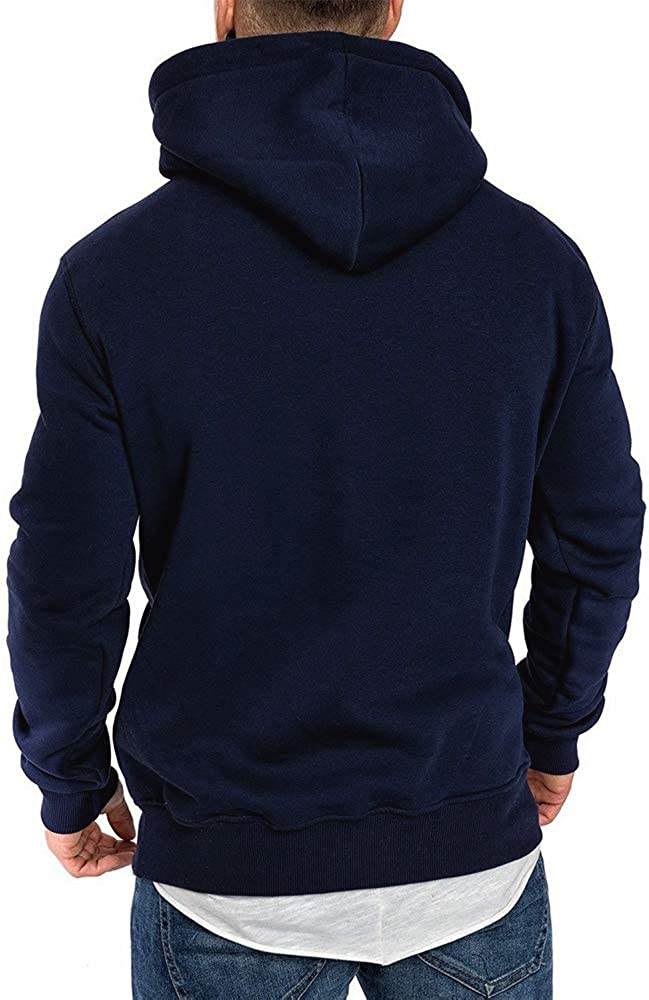 Herren Sweatshirt Kapuzenpullover Pullover Hoodie Hoher Kapuzenansatz K/änguru-Tasche Gerippte /Ärmel und Abschlussb/ündchen Sweatjacke Casual Streetwear Basic Style