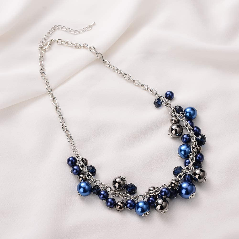 Silver Fashion Jewelry with Pearl and Crystal Bead Short Chain Pendant Necklaces for Women Birthday Gifts for Women