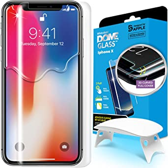 Dome Glass I Phone X Screen Protector Tempered Glass Shield, [Liquid Dispersion Tech] 2.5 D Edge Screen Coverage, Easy Install Kit Uv Light Whitestone Apple I Phone X (2017) / I Phone 10 by Dome Glass