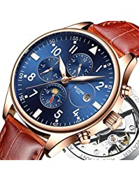 Men Luxury Brand Automatic Mechanical Sports Watches for Men Luminous Waterproof Stainless Steel Leather Watch