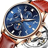 BOYZHE Men Automatic Mechanical Sports Watch Luminous Moon Phase Fashion Casual Stainless Steel Leather Watches Luxury Brand