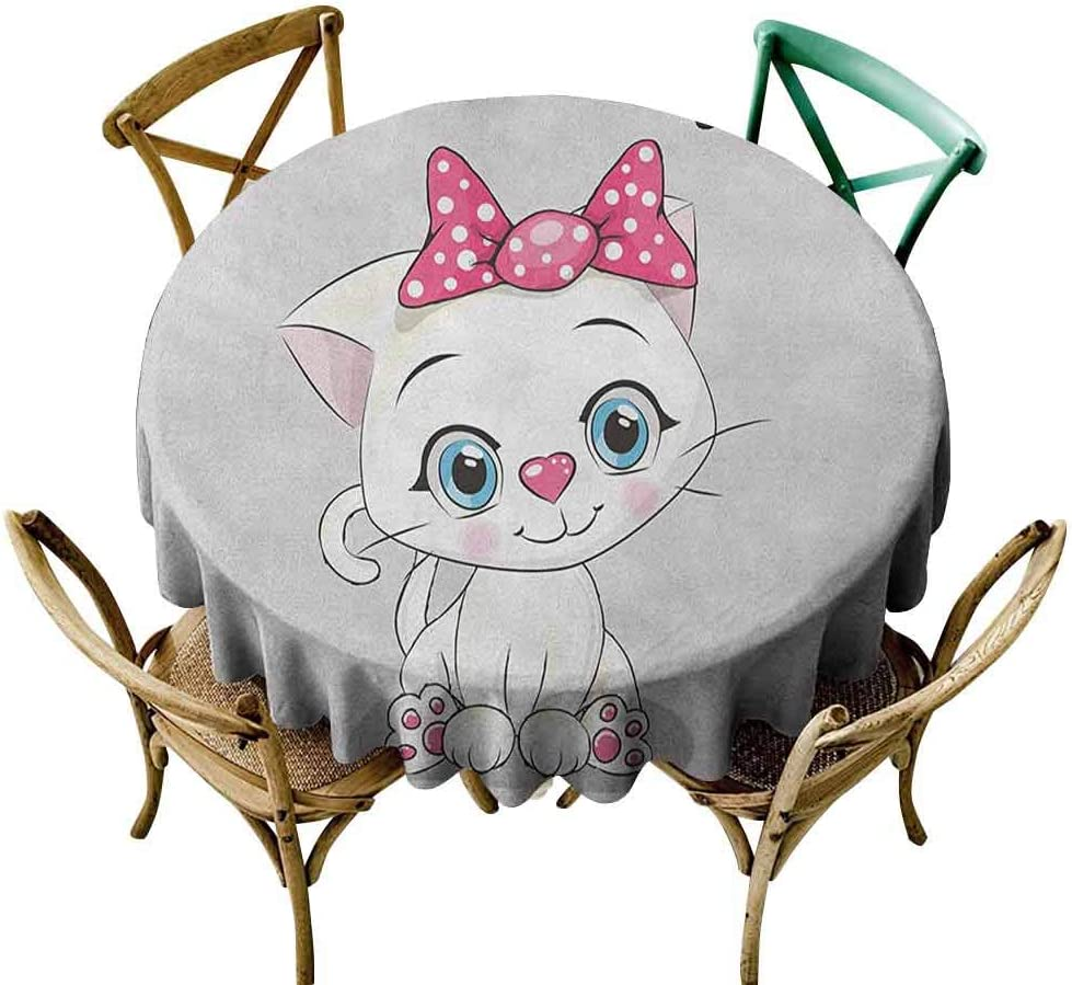 Amazon Com Kamiao Outdoor Picnics Kitten Cute Cartoon Domestic White Cat Pink Cheeks Fluffy I Love My Pet Themed Print Grey White Pink Diameter 70 Outdoors Round Tablecloth Home Kitchen