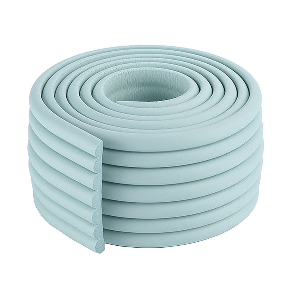 2x2m/13ft Flexible Toddler Edge Bumper NBR Door Trim Protector in Light Blue for Wash Sink Countertop